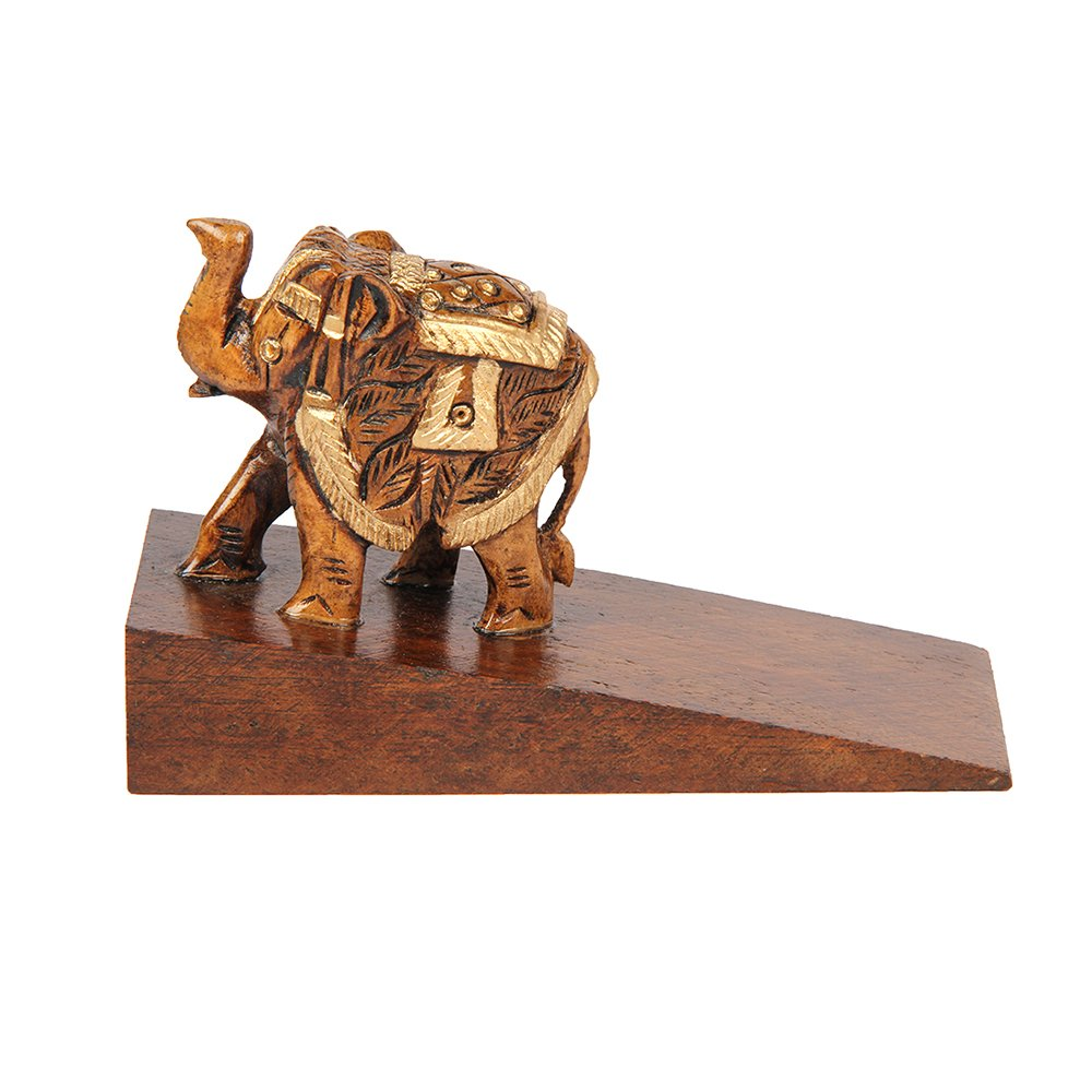 Aheli Wooden Decorative Door Stopper Holder Elephant Shape Carved Novelty Door Wedge for Home Office