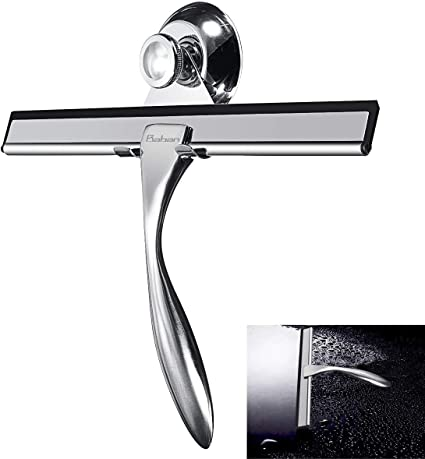 Colore: nero//acciaio Tergivetro perfetto per finestre o pareti doccia Pulisci vetri con fissaggio a ventosa mDesign lavavetri per doccia
