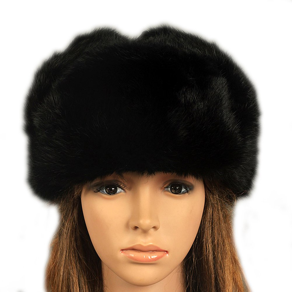 FURTALK Men's Women's Natural Rabbit Full Fur Russian Ushanka Trooper Hat Multicolor RH071-black-XL