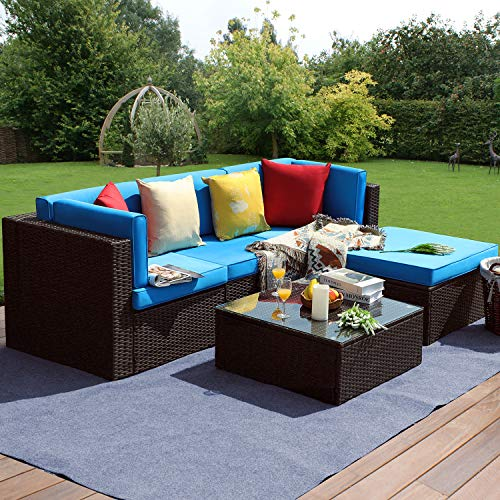Furniwell 5 Pieces Outdoor Sectional Furniture Set Patio Wicker Rattan Sofa Set Backyard Couch Conversation Sets with Pillow, Cushions and Glass Table (Blue)