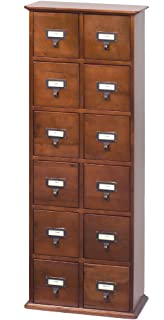 LDE LESLIE DAME Leslie Dame CD 228W Solid Oak Library Card File Media  Cabinet,