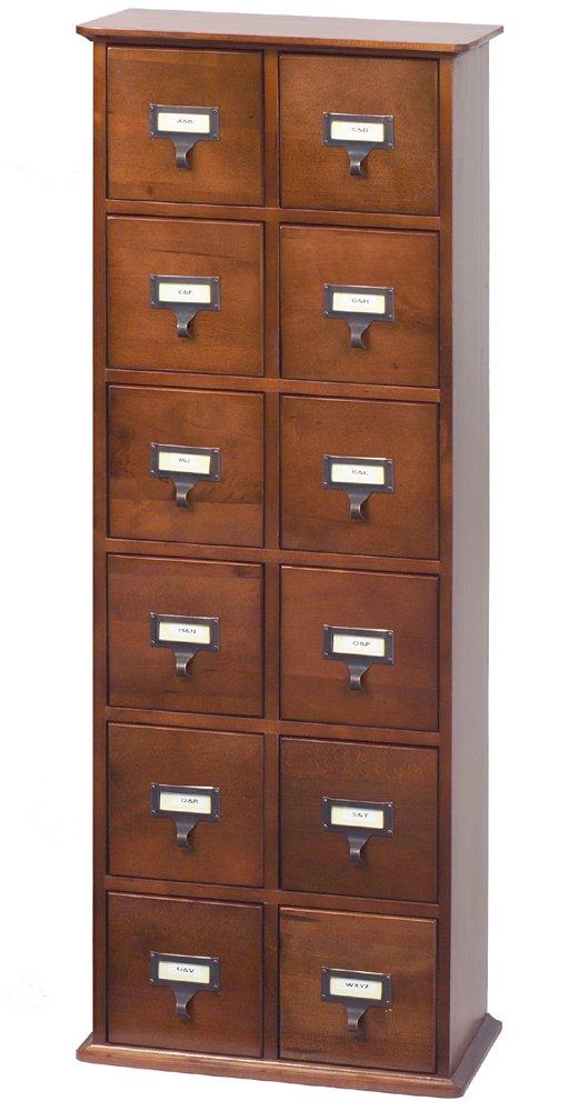 LDE LESLIE DAME Leslie Dame CD-228W Solid Oak Library Card File Media Cabinet, 12 Drawers, Walnut