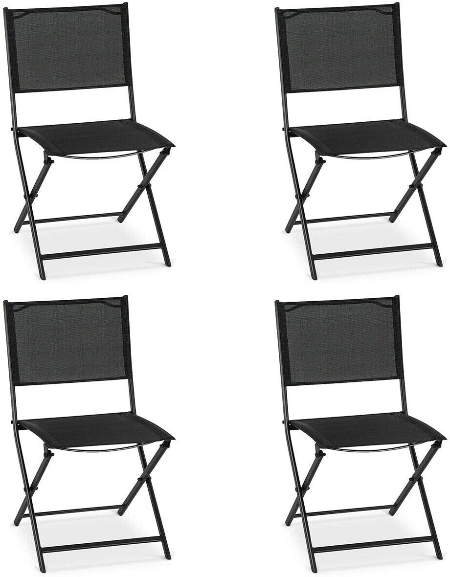 Giantex 4 Pcs Patio Folding Chairs Outdoor Portable Foldable Sling Steel Chairs with Footrest for Garden, Pool, Backyard, Porch, Beach, Camping, Folding Lawn Chair Set, Black