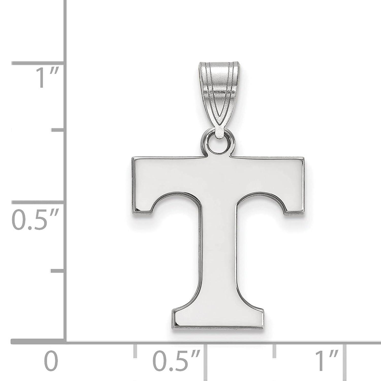 925 Sterling Silver Rhodium-plated Laser-cut University of Tennessee Medium Pendant