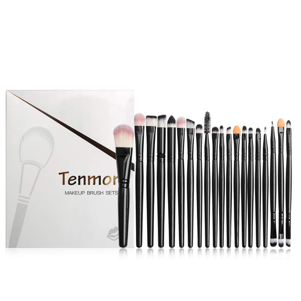 Eye Brush Set, Tenmon 20 Pieces Eyeshadow Eyeliner Blending Crease Kit Makeup Brushes Make Up Foundation Eyebrow Eyeliner Blush Cosmetic Concealer Brushes (Black)