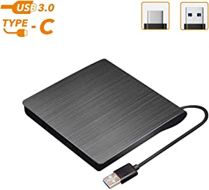 External CD DVD Drive, USB 3.0 Type-C Portable CD DVD +/-RW Player Optical Slim Drive Rewriter Burner for USB Type-C Laptop Desktop PC Windows Mac Linux OS Apple (Black)
