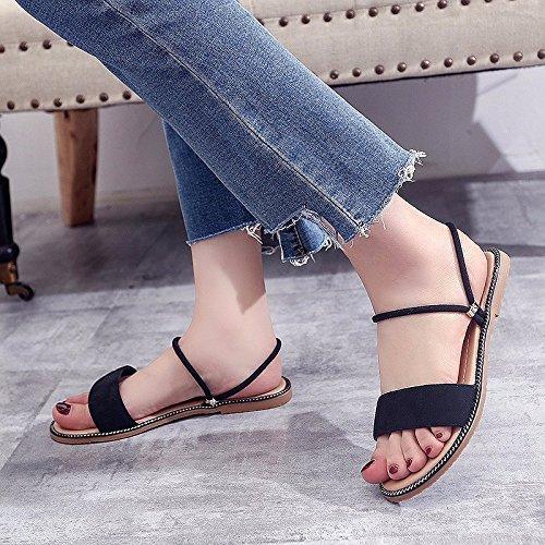 XIAOGEGE Fondo plano sandalias zapatos de mujer señoras simples zapatillas de playa Negro
