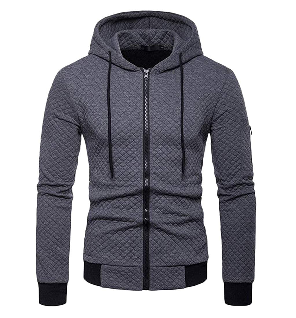 Sweatwater Mens Coat Juniors Slim Cotton Plaid Hoodie Sweatshirts