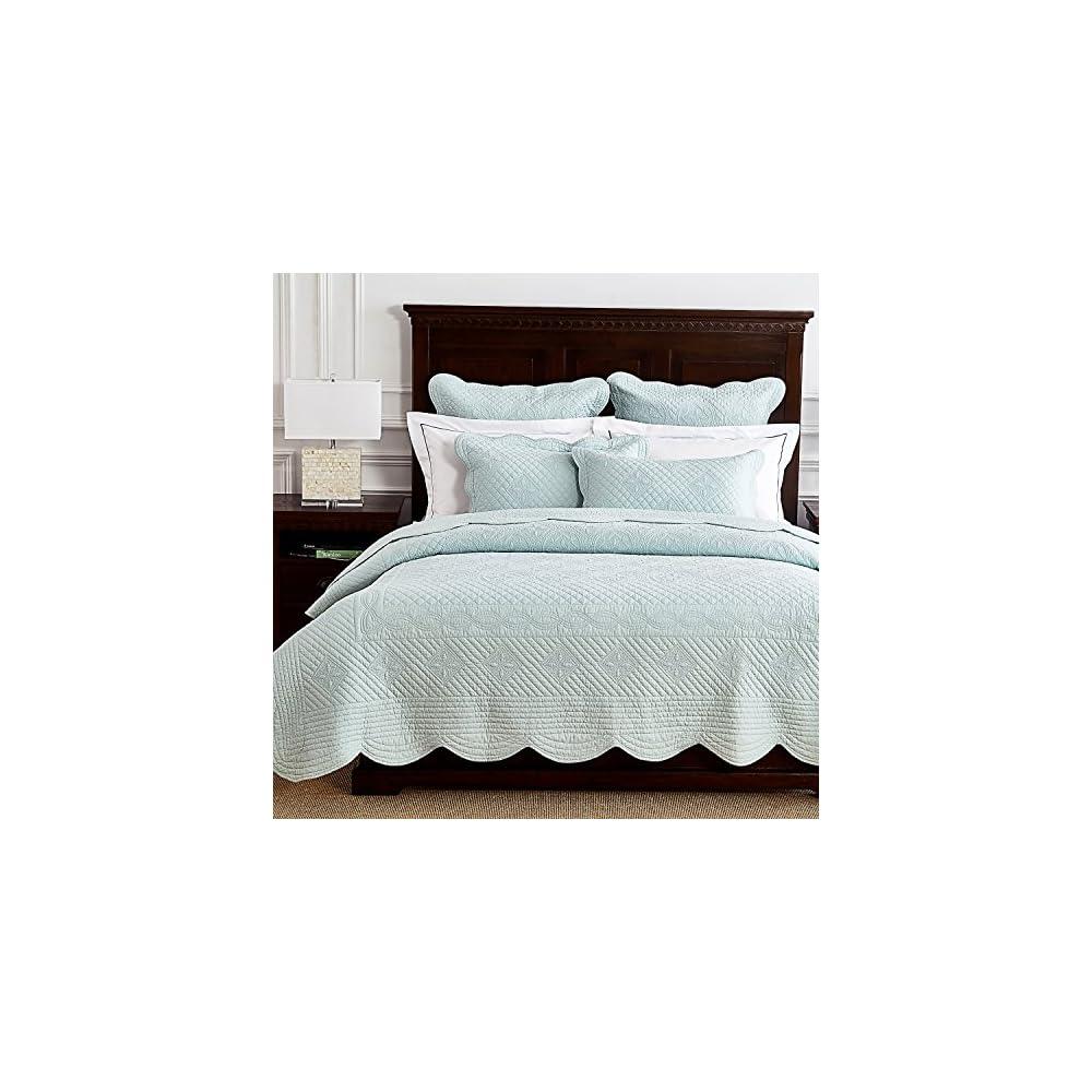 "Calla Angel O4-BANU-XVKH Sage Garden Luxury Pure Cotton Quilt, 108"" x 95"", Light Aqua, King"