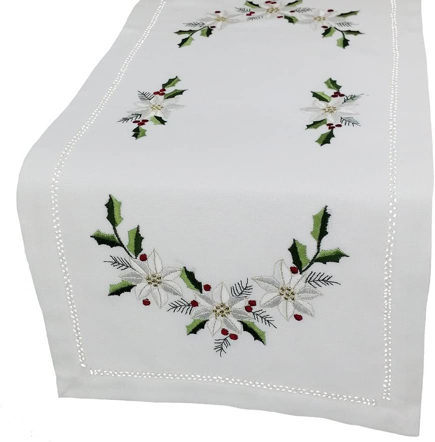 Xia Home Fashions Country Poinsettia Embroidered Hemstitch Christmas Table Runner, 12-Inch by 28-Inch