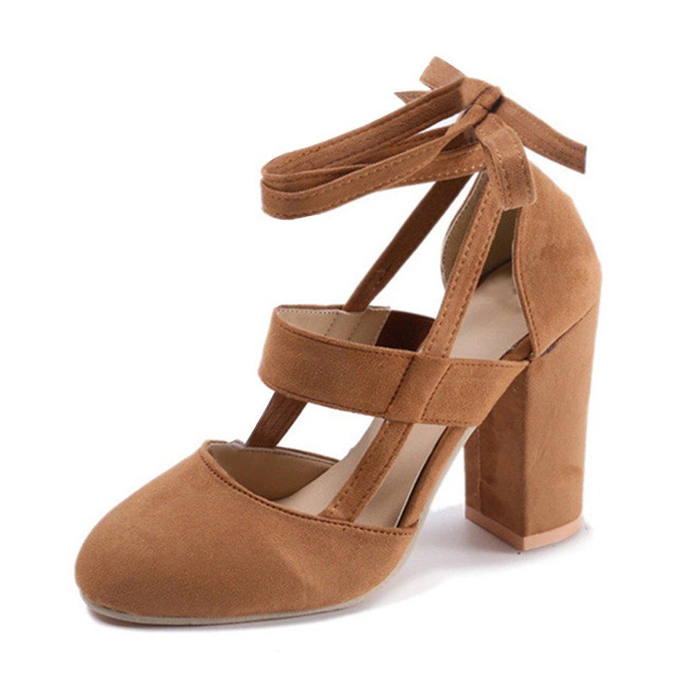 TALLA 38 EU. Poplover Mujer Correa de Tobillo Cordones Zapatos Tacones Altos Puntas Cerradas Zapatos