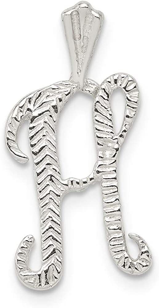 Mia Diamonds 925 Sterling Silver Solid Polished and Textured Letter H Necklace Chain Slide