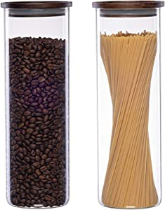 Essos Glass Jars with Wood Lids Set of (2) 68 fl oz Canisters - Airtight and Stackable Storage Containers for the Kitchen or Pantry Canister Wooden Lid holds Food Cookies Coffee Spaghetti Pasta