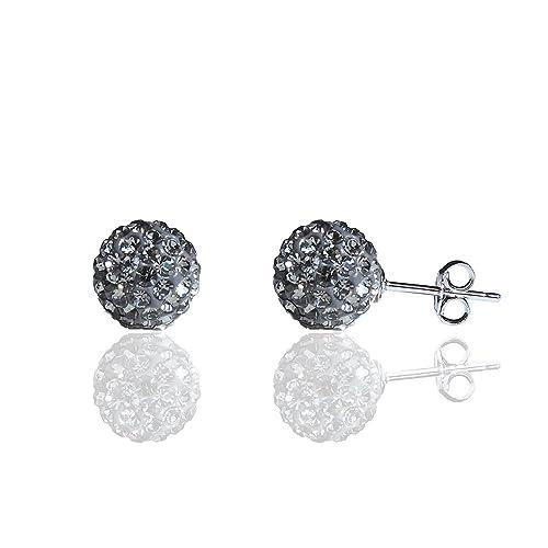 73dd162df Amazon.com: BAYUEBA 925 Sterling Silver Crystal Ball Stud Earrings ...