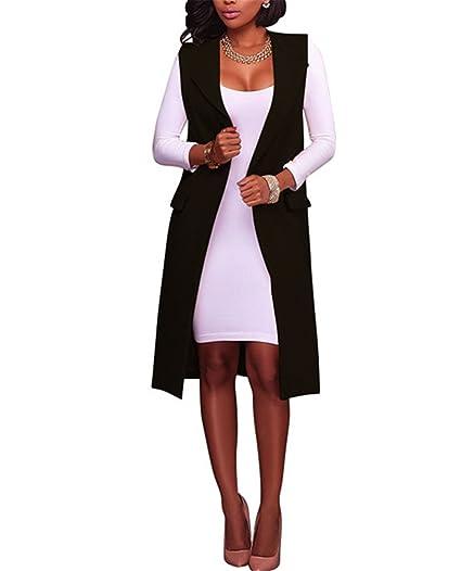 JIANGTAOLANG Sleeveless Blazer Women Vest Autumn Office Jacket Long Vest Waistcoat Pocket Russian Style Black S