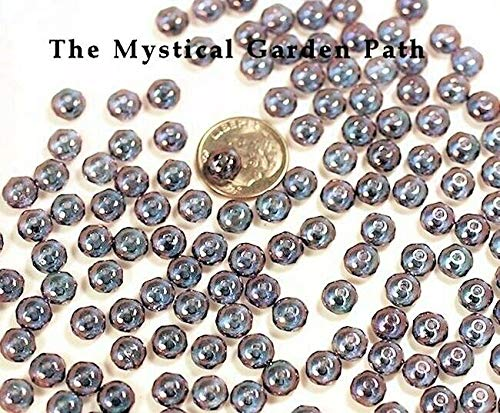 (50 Czech Fire Polished Glass Faceted Rondelle Beads / 7X4Mm / Amethyst Luster)