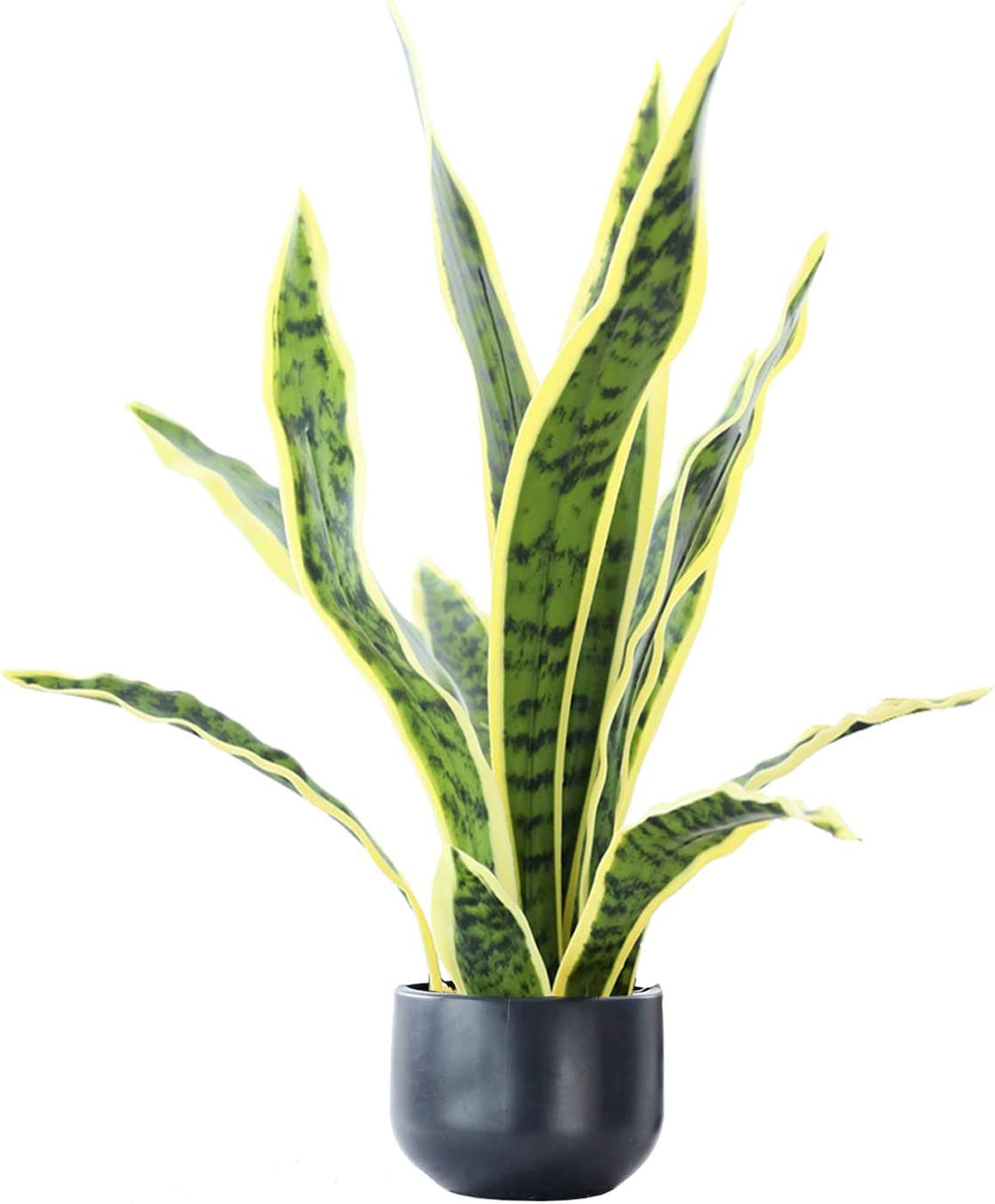 "Beebel Artificial Snake Plant 22"" Fake Sansevieria Potted Plants Plastic Greenery Perfect Faux Agave Plant for Home Garden Office Store Decoration"