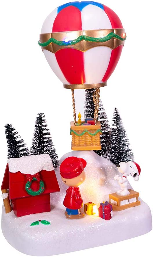 Peanuts Kurt Adler 9-Inch Battery-Operated Musical Animated Hot Air Balloon Table Piece, Multi