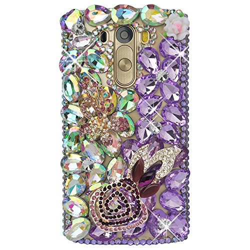 LG G3 Mini Bling Case-Spritech(TM) 3D Handmade Colorful Diamond Bling with Butterfly Flower Decoration Decoration Hard Clear Case for LG G3 Mini
