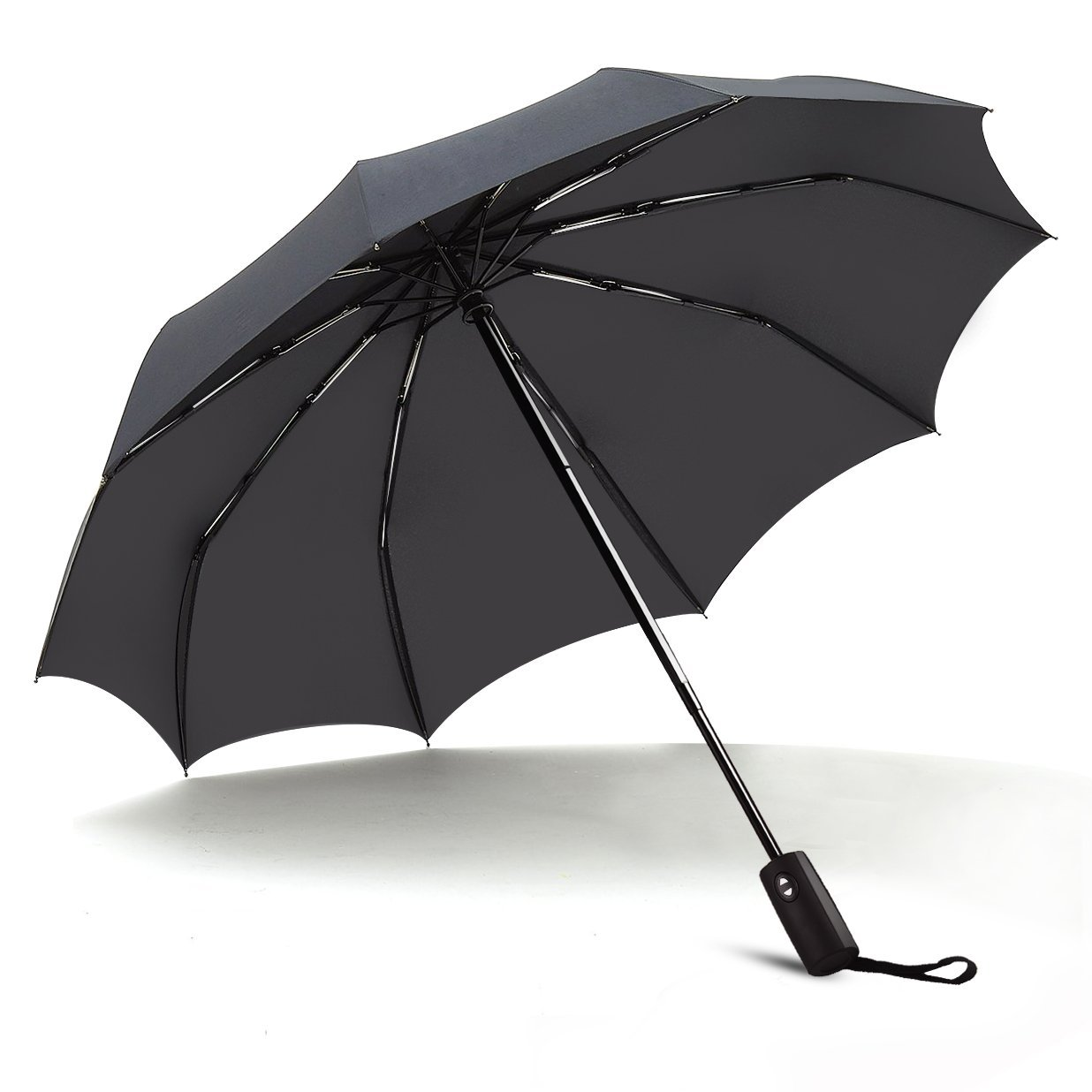Umbrella,JUKSTG 10 Ribs Auto Open/Close Windproof Umbrella, Waterproof Travel Umbrella,Portable Umbrellas With Ergonomic Handle,Black