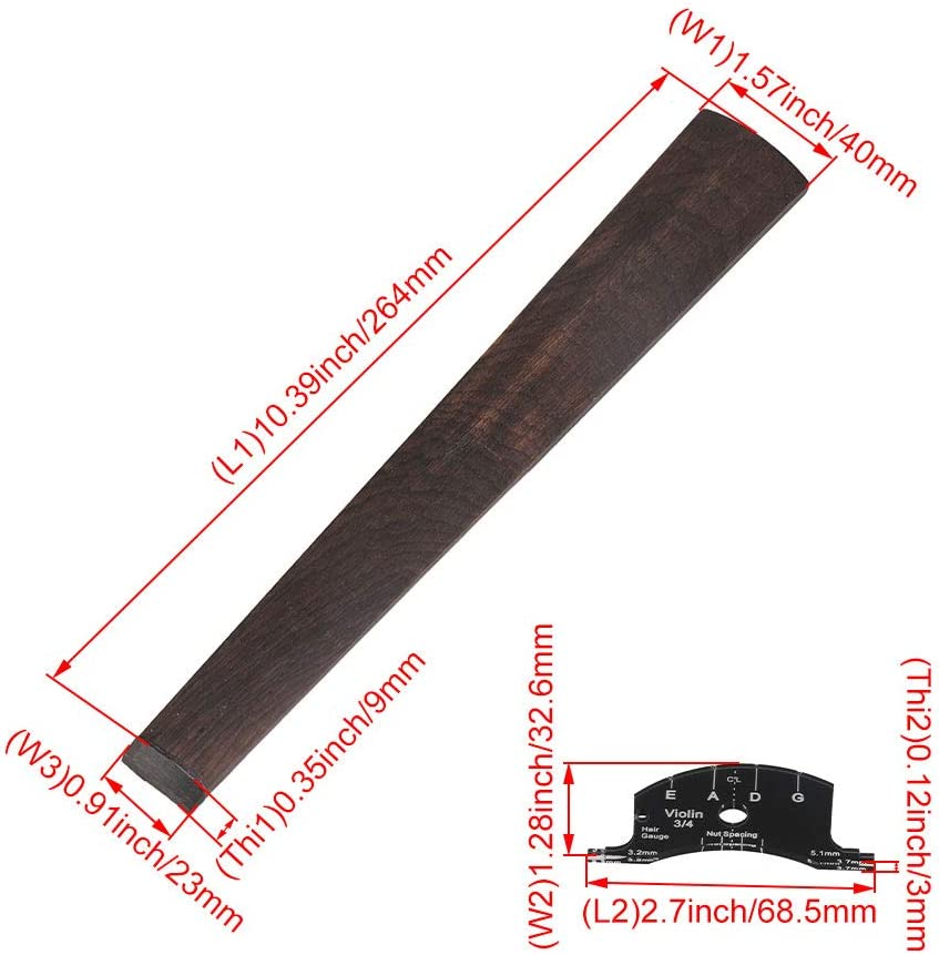 DIY 3//4 Ebony Violin Repair Kit Tuners Tailpiece Pegs Bridge Set with Scale