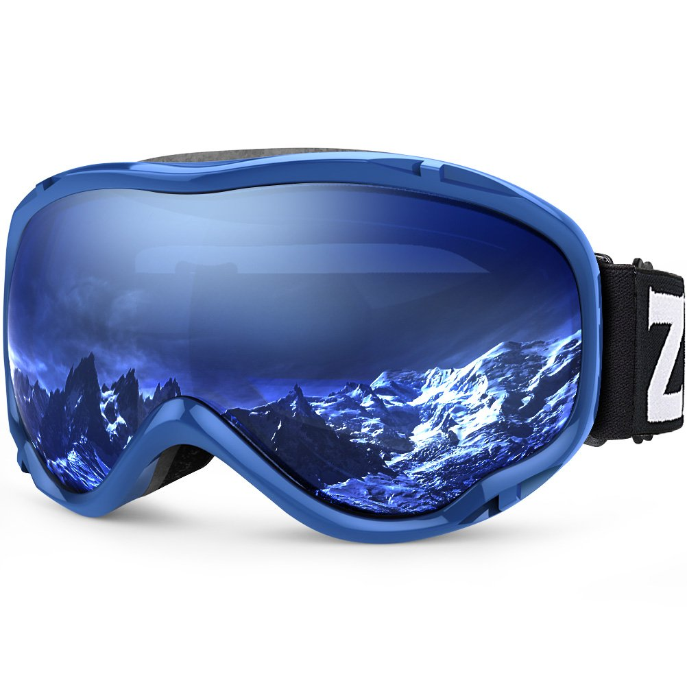 Zionor Lagopus Ski Snowboard Goggles UV Protection Anti Fog Snow Goggles for Men Women Youth VLT 60% Blue Frame Clear Blue Lens by Zionor
