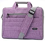 J-Bonest Multi-functional Suit Fabric Portable Laptop Briefcase Shoulder/Messenger Bag Waterproof Canvas Crossbody Carrying Case for Laptop/Tablet/Computer/Macbook/Notebook (15.6 Inch, Purple)