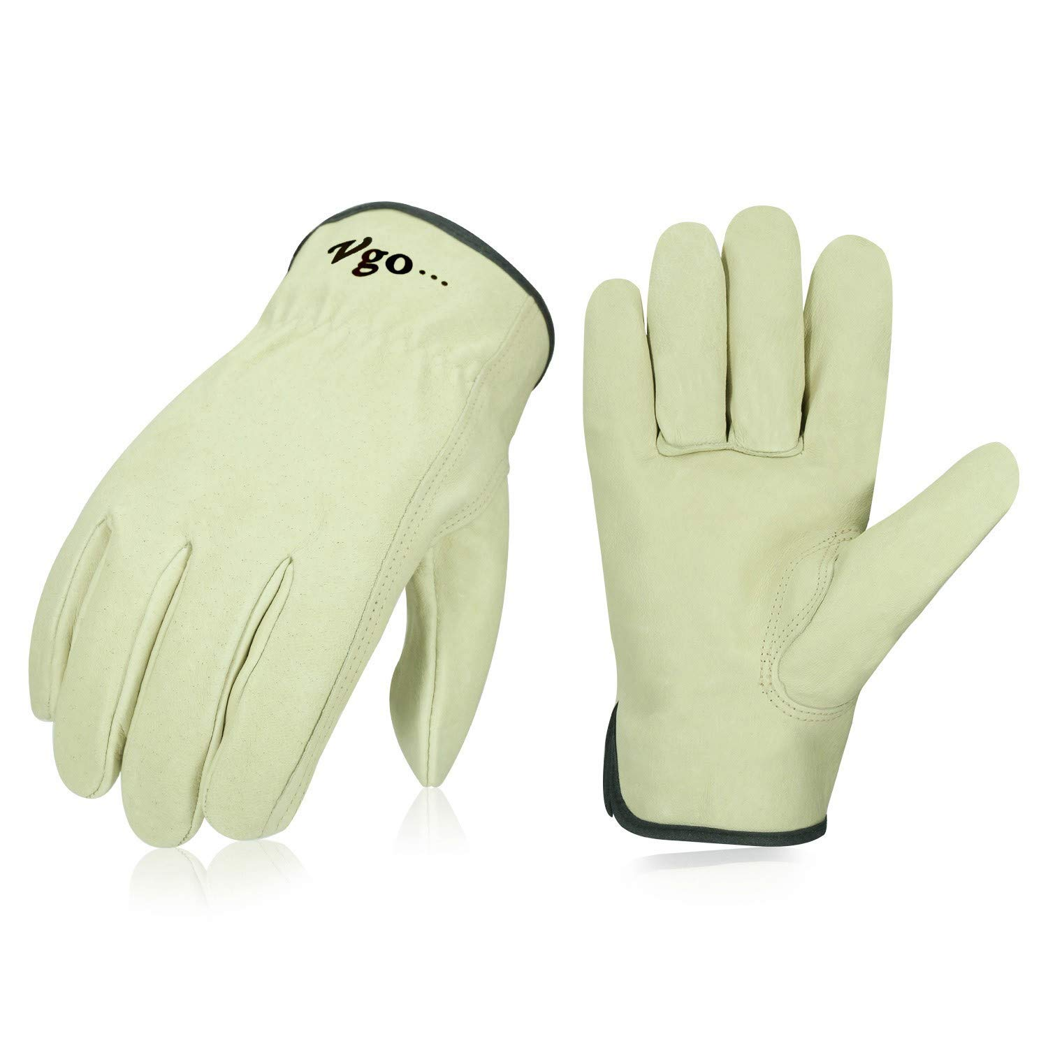 Vgo 3Pairs Unlined Men's Pigskin Leather Work Gloves, Drivers Gloves(Size XL,Light Cyan,PA9501)