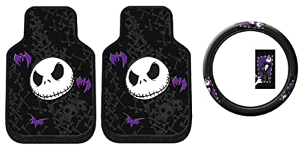nightmare before christmas steering wheel cover and floor mat combo 3 pcs - Nightmare Before Christmas Steering Wheel Cover