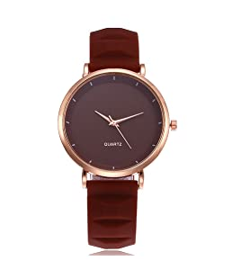 COOKI Womens Quartz Watch Simple Style Silica Gel Band New Strap Elegant Watch Casual Analog Wrist Watches Clearance (D)