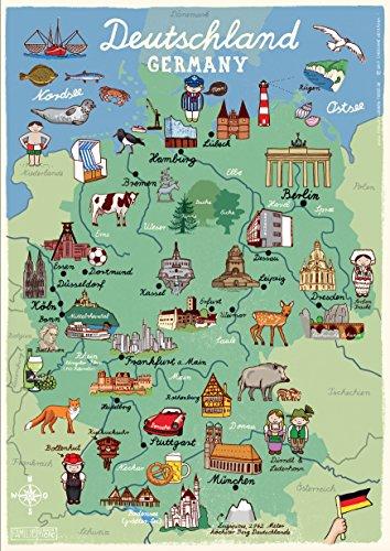 deutschlandkarte kinder Poster Deutschland KInderzimmer Deutschlandkarte für Kinder DIN A2  deutschlandkarte kinder