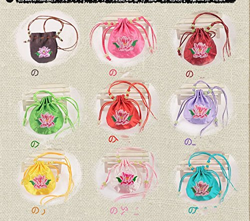 URBeauty 9 PCS Color Random Embroidered Sachet Hanging Long Rope Embroidery Bag Satin Drawstring Damask Jewelry Trinkets Product Packing Pouch Christmas/Wedding Gift Bag Embroidered - Embroidered Sachet Bags
