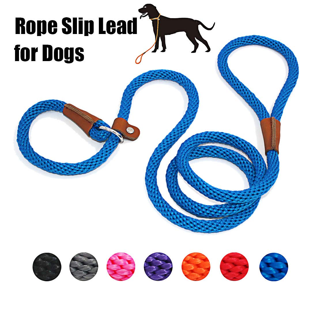 lynxking Dog Leash Rope Slip Leads Strong Heavy Duty No Pull Training Lead Leashes for Medium Large Dogs (5', Blue) by lynxking