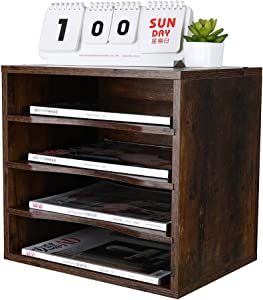 PAG Office Supplies Desk Organizer Wood File Mail Sorter with 3 Adjustable Drawer Boards, Retro Brown