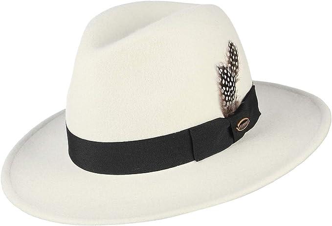 EOZY-Cappello Panama Vintage Uomo Unisex Fedora in Lana Classico Bombetta Jazz Berretto Bump Top Decorazione Cinturina di Stile Nazionale