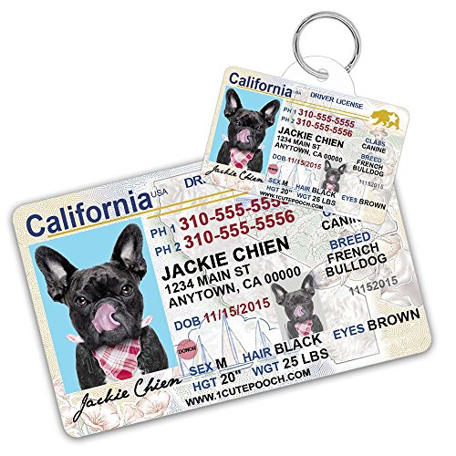 California Driver License Custom Dog Tag for Pets and Wallet Card - Personalized Pet ID Tags - Dog Tags For Dogs - Dog ID Tag - Personalized Dog ID Tags -