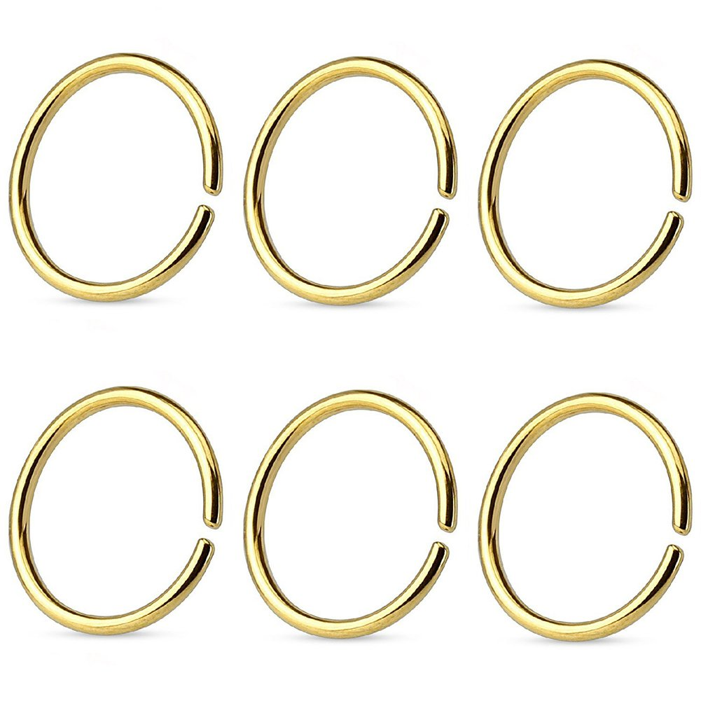 FORYOU FASHION Surgical Steel 22G Nose Rings Hoop Cartilage Ear Septum Piercings 10mm