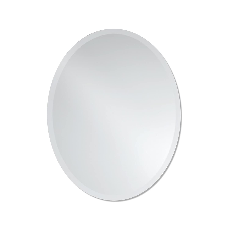 Small Frameless Beveled Oval Wall Mirror | Bathroom, Vanity, Bedroom Mirror | 22-inch x 28-inch