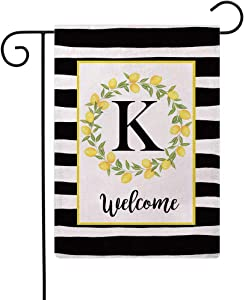 ULOVE LOVE YOURSELF Welcome Farmhouse Decorative Garden Flags with Letter K/Lemons Wreath Double Sided House Yard Patio Outdoor Garden Flags Small Garden Flag 12.5×18 Inch (K)