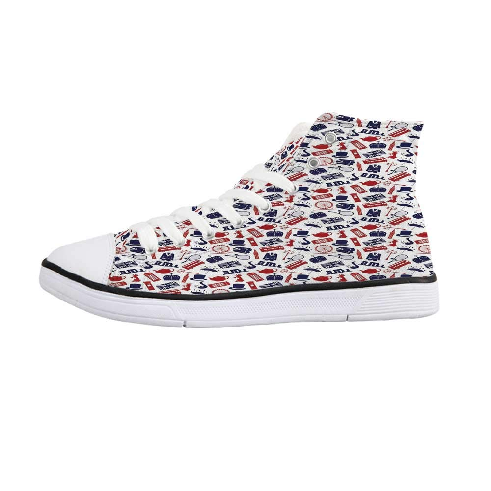 YOLIYANA London Comfortable High Top Canvas Shoes,Pattern with London Symbols Queen Elizabeth Umbrella Tea Party Map Travel Theme Decorative for Women Girls,US 5