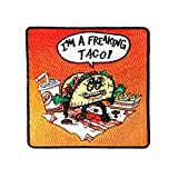 """""""Freakin Taco"""" Funny Mexican Food Cartoon Humor - Iron on Embroidered Patch Applique"""