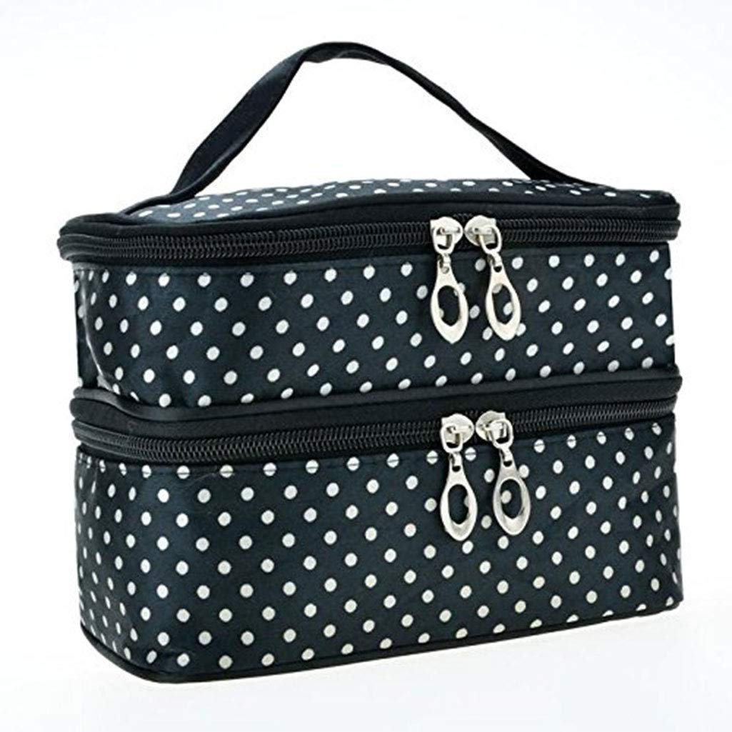 Cosmetic Bag MakeUp Case Double Layer Dot Pattern Durable With 2 Zipper Holder With Mirror (Black/White)