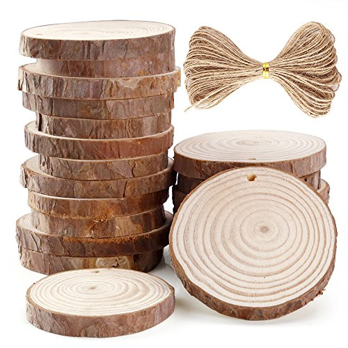 Caydo 20 Pieces 2.36-2.75 Inch Unfinished Predrilled Wood Slices with Holes Round Log Discs and 33 Feet Natural Jute Twine for Christmas Ornaments and Home Hanging Decorations]()