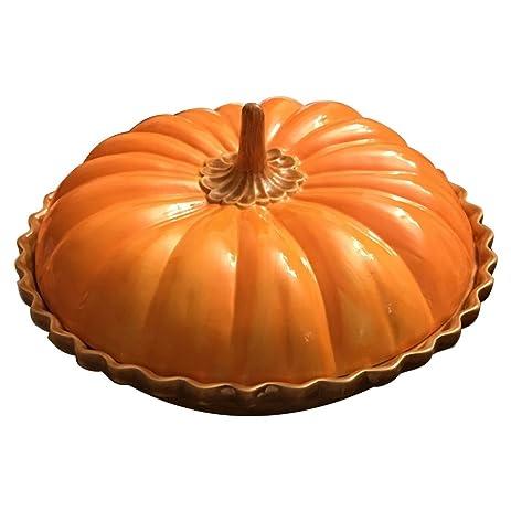 Deep Dish Ceramic Covered Pumpkin Pie Plate  sc 1 st  Amazon.com & Amazon.com: Deep Dish Ceramic Covered Pumpkin Pie Plate: Inidual ...