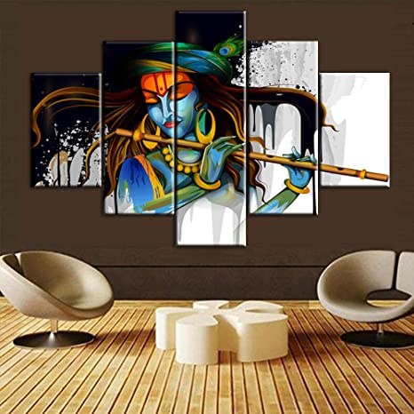 Amazon Com Hindu Wall Decor Lord Krishna Pictures Krishna Paintings Indian Wall Art 5 Pcs Multi Panel Canvas Deity Hinduism Artwork Home Decor For Living Room Framed Ready To Hang Posters And Prints 60 Wx40 H Paintings