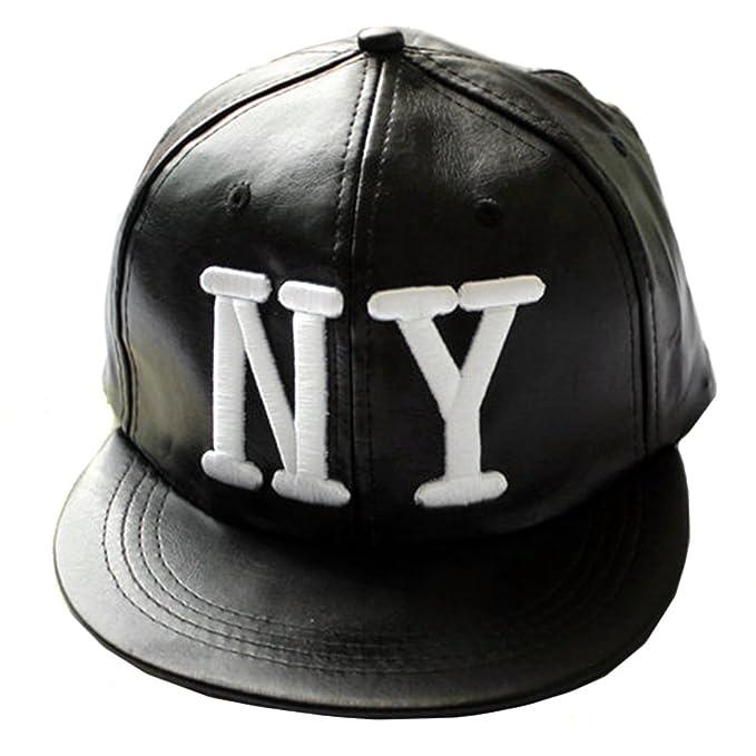 Locomo Negro Piel sintética Bordado LA/NY Gorra de béisbol Gorra de ala FFH198NY Negro