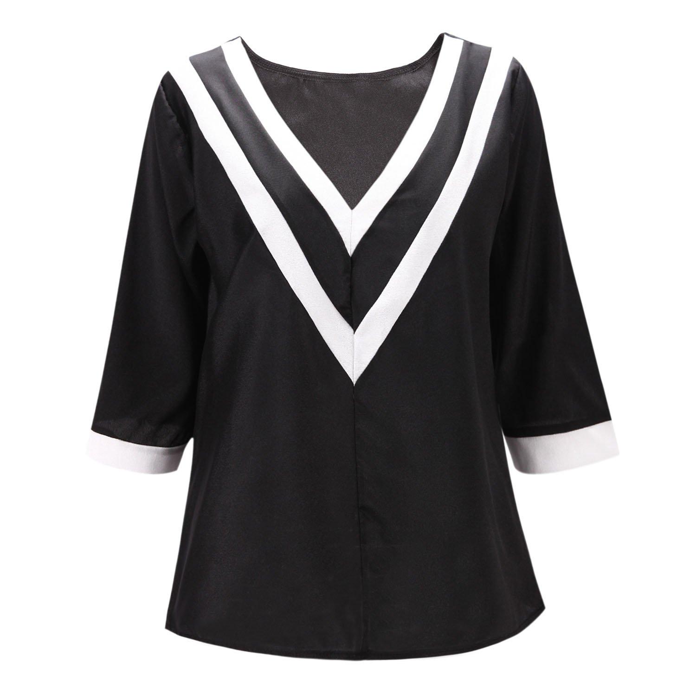 bf888dca557a82 LAEMILIA Damen Casual V-Ausschnitt Oberteile Bluse Tunika Langarm Tops T- Shirt  Amazon.de  Bekleidung