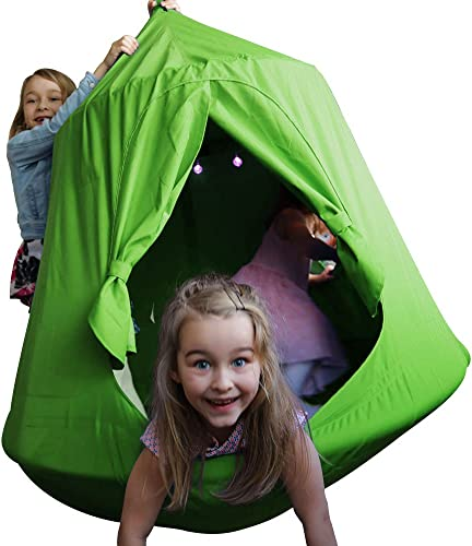 TopEva Waterproof Hanging Tree Ceiling Hammock Tent Kids Sky Castle Paradise with Led Decoration Lights Green