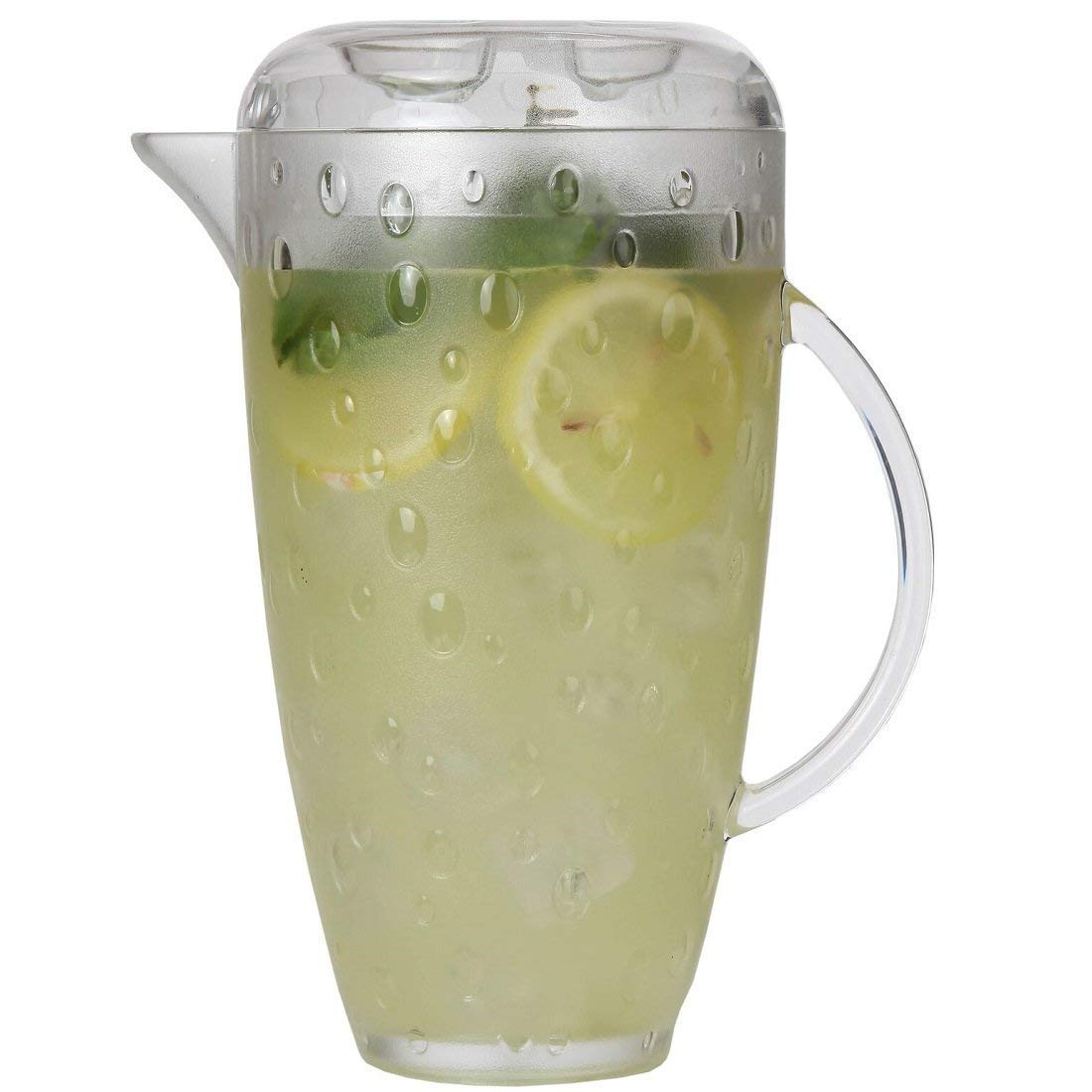 Plastic Pitcher with Lid, Food-Safe and BPA-Free, Elegant and Ideal for Indoor or Outdoor Use for Lemonade, Iced Tea, Beer or Water