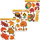 Curated Nirvana Autumn & Thanksgiving Holiday Window Clings | Seasonal Static Decals Featuring Fall Leaves Acorns, Harvest Time Pumpkins, Indian Corn, Turkey, Cornucopia More - 33 Total